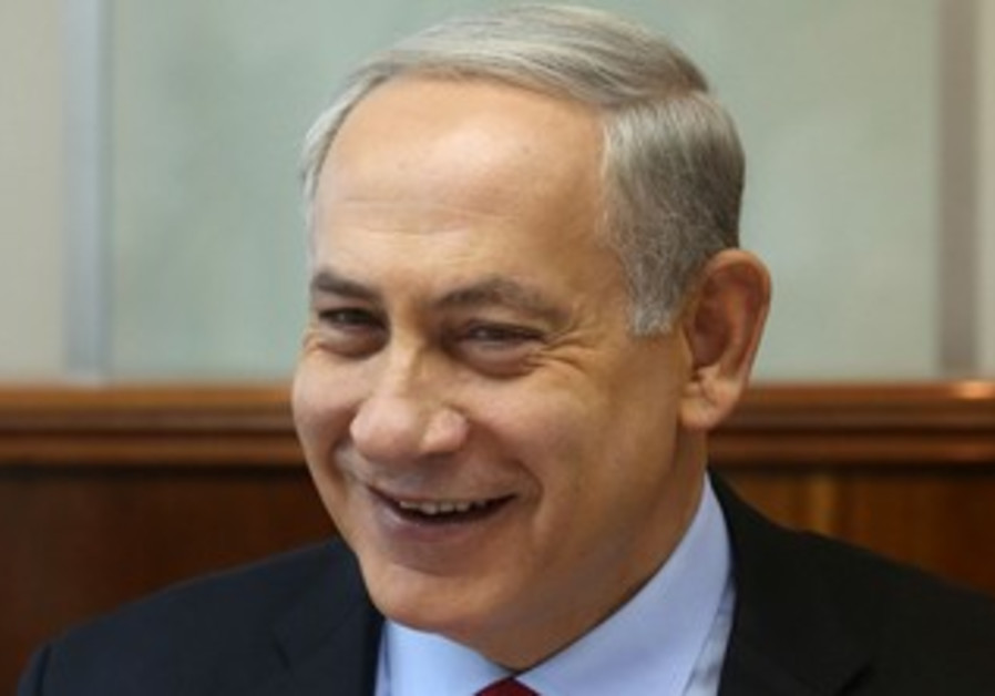 Prime Minister Binyamin Netanyahu at the weekly cabinet meeting, October 20, 2013.