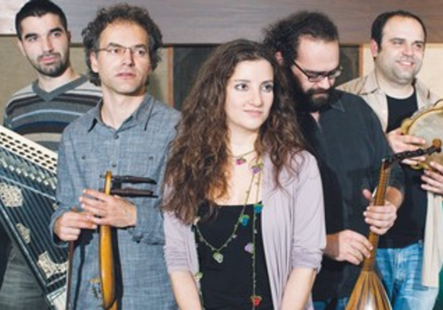 Greek singer Katerina Papadopoulu (center) seen here with her ensemble band