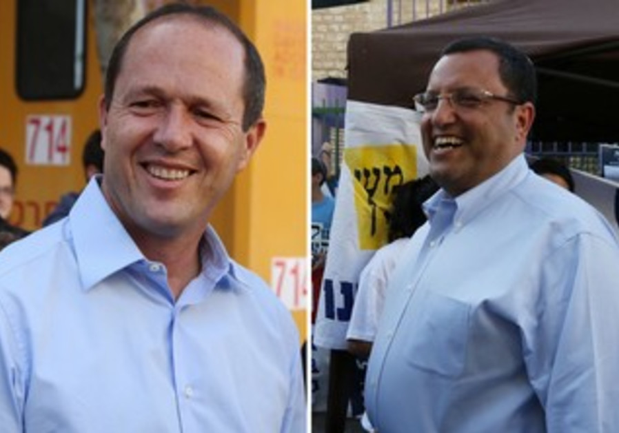 Jerusalem mayoral candidates Nir Barkat and Moshe Lion out meeting voters on election day.