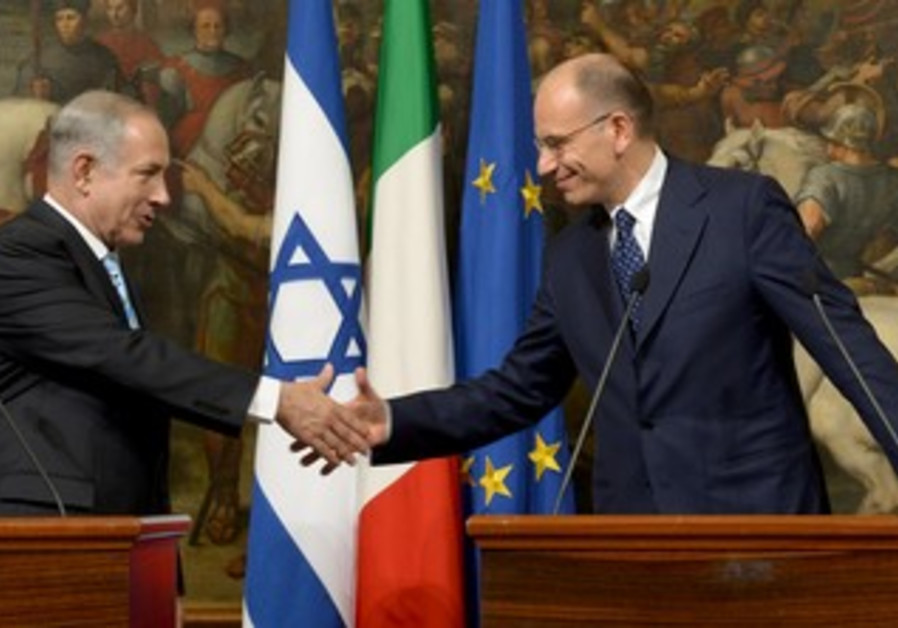 Prime Minister Netanyahu with Italian counterpart Enrico Letta, October 22, 2013.