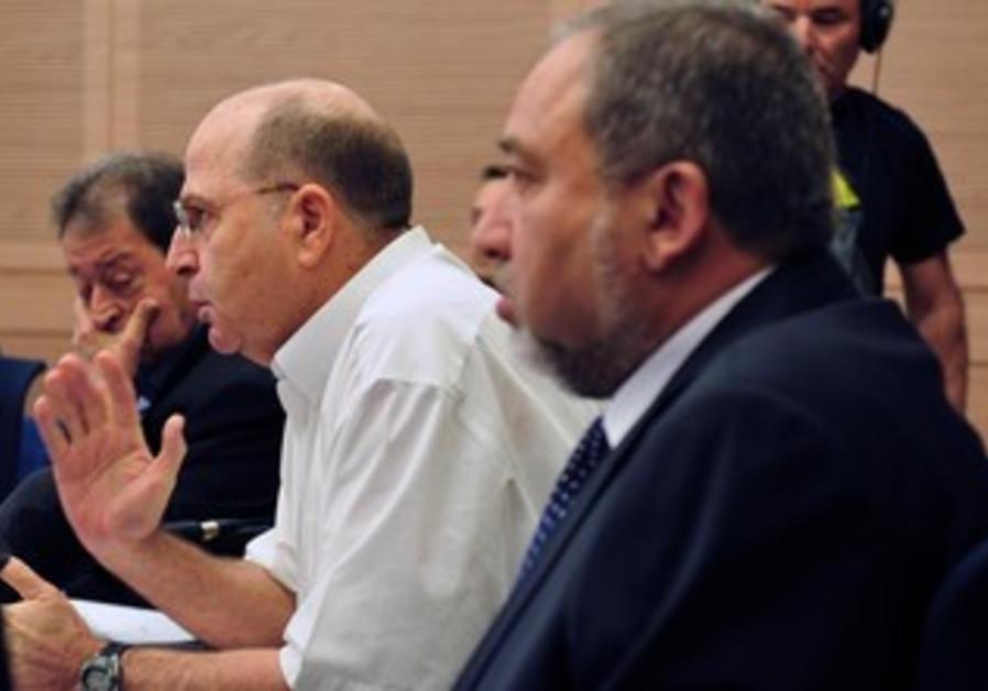 Defense Minister Moshe Ya'alon and MK Avigdor Liberman