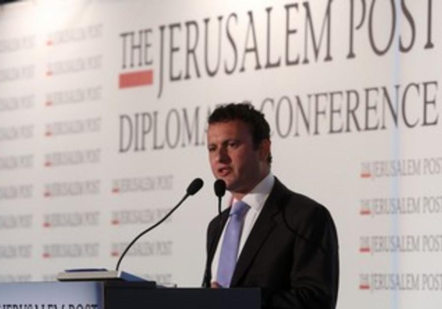 UK ambassador Matthew Gould addresses JPost conference, October 24, 2013