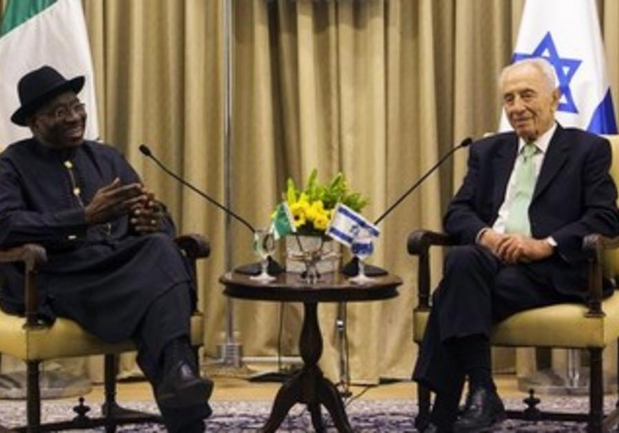 President Shimon Peres and Nigerian Pres. Goodluck Johnson