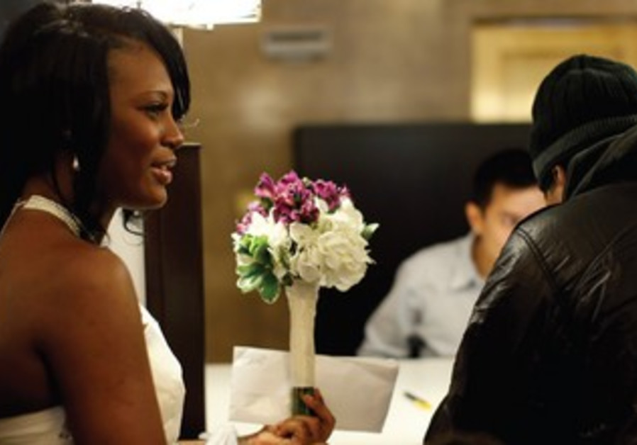New York City woman waits to get marriage license