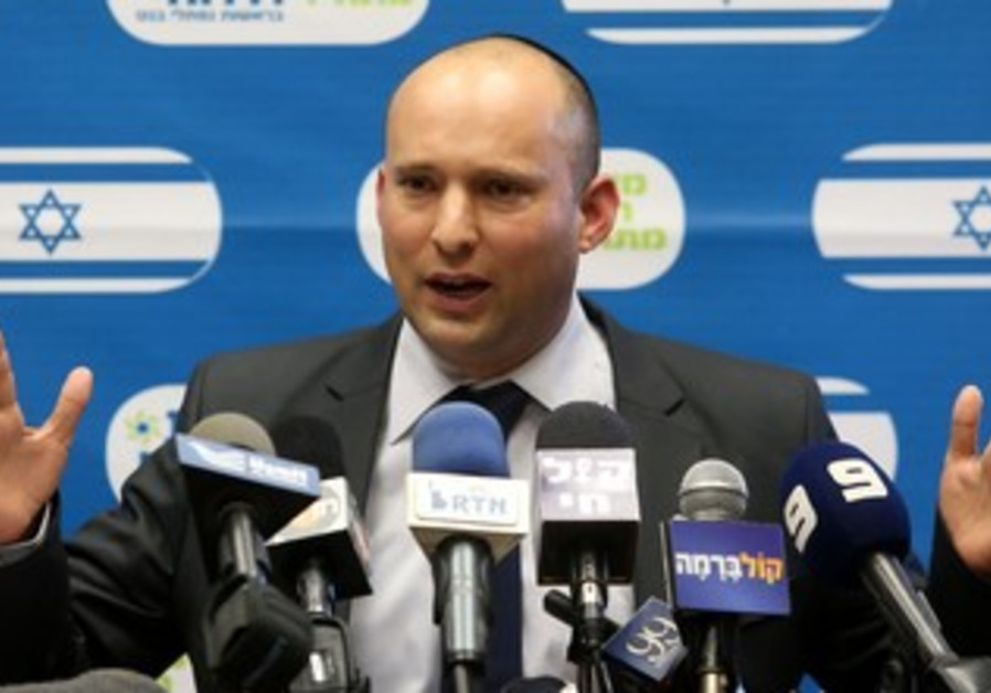Economy and Trade Minister Naftali Bennett at the Bayit Yehudi faction meeting, October 28, 2013.