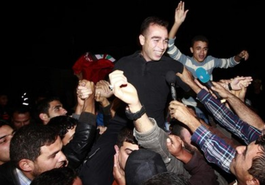 A released Palestinian prisoner at the Erez crossing between Israel and the northern Gaza Strip.
