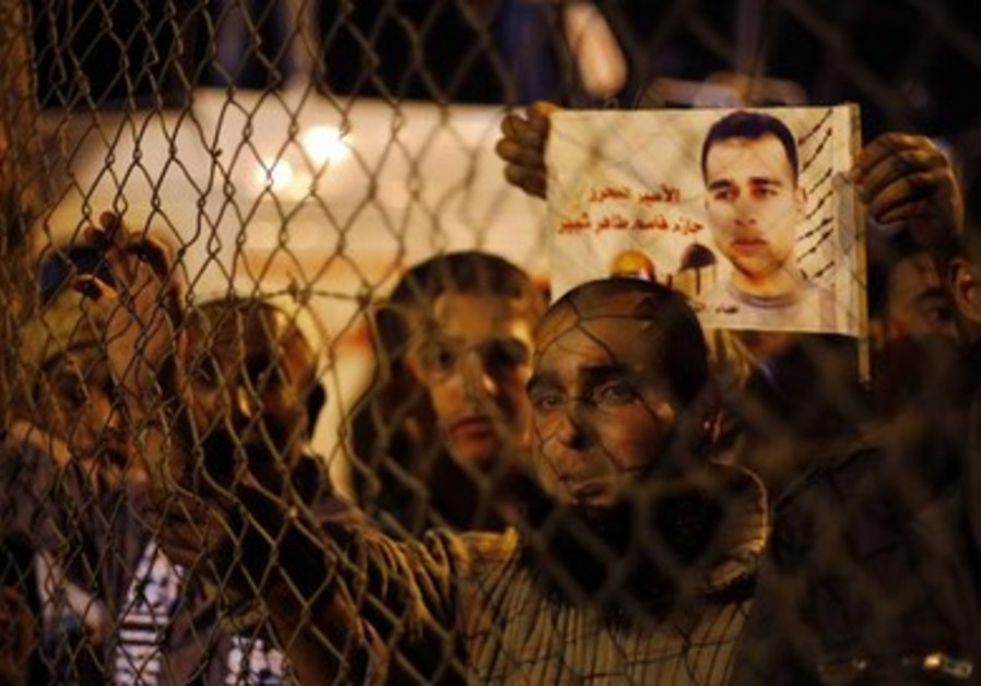 Palestinians waiting at the Erez crossing for the release of prisoners from Israel.