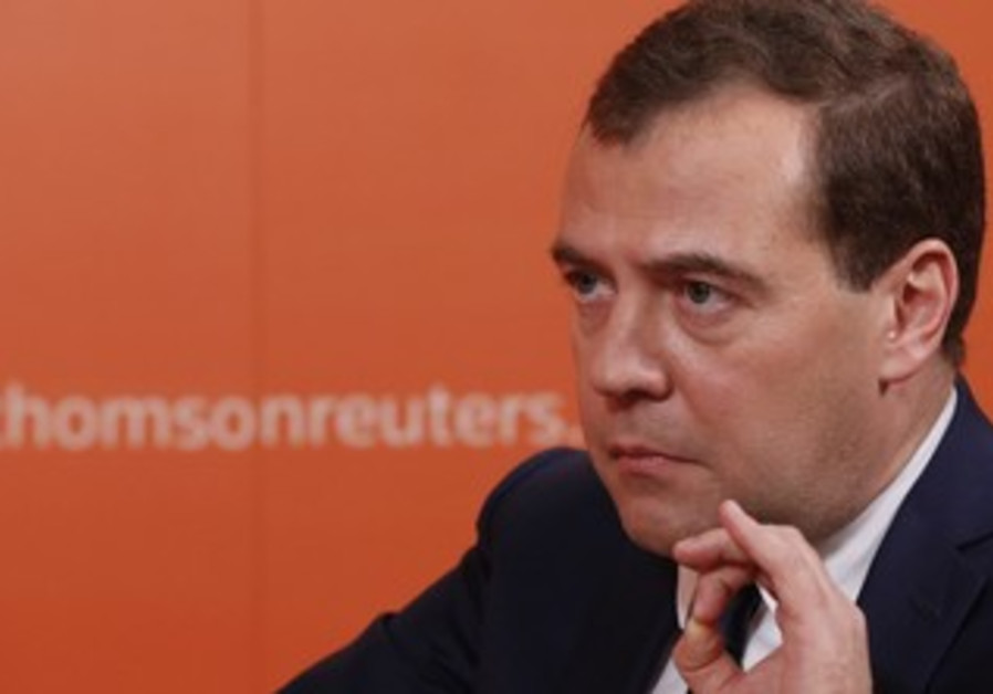 Russian Prime Minister Dmitry Medvedev giving an interview to Reuters, October 31, 2013.