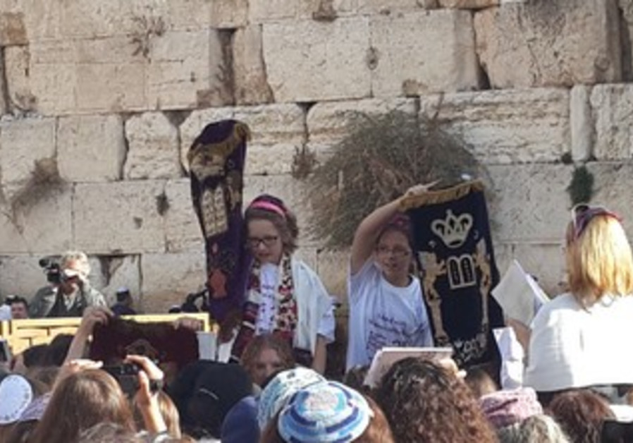 Young girls join in the Women of the Wall prayer service on November 4, 2013.