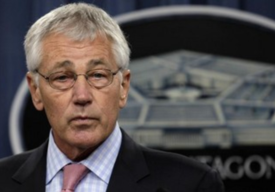 US Secretary of Defense Chuck Hagel at a press conference.