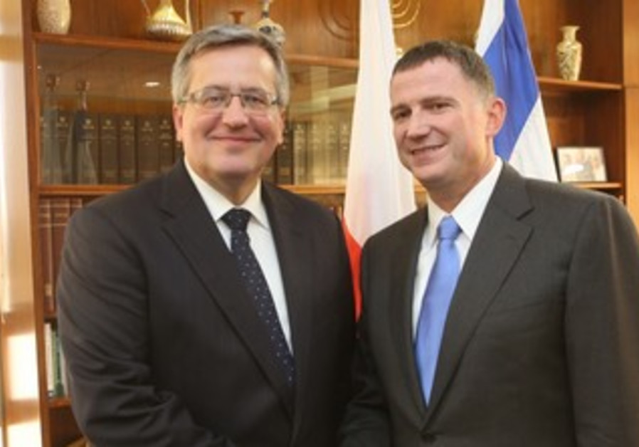 Poland's President Bronislaw Komorowski with Knesset Speaker Yuli Edelstein.