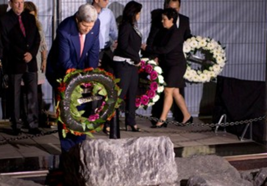 John Kerry lays wreath at Rabin memorial, November 5, 2013.
