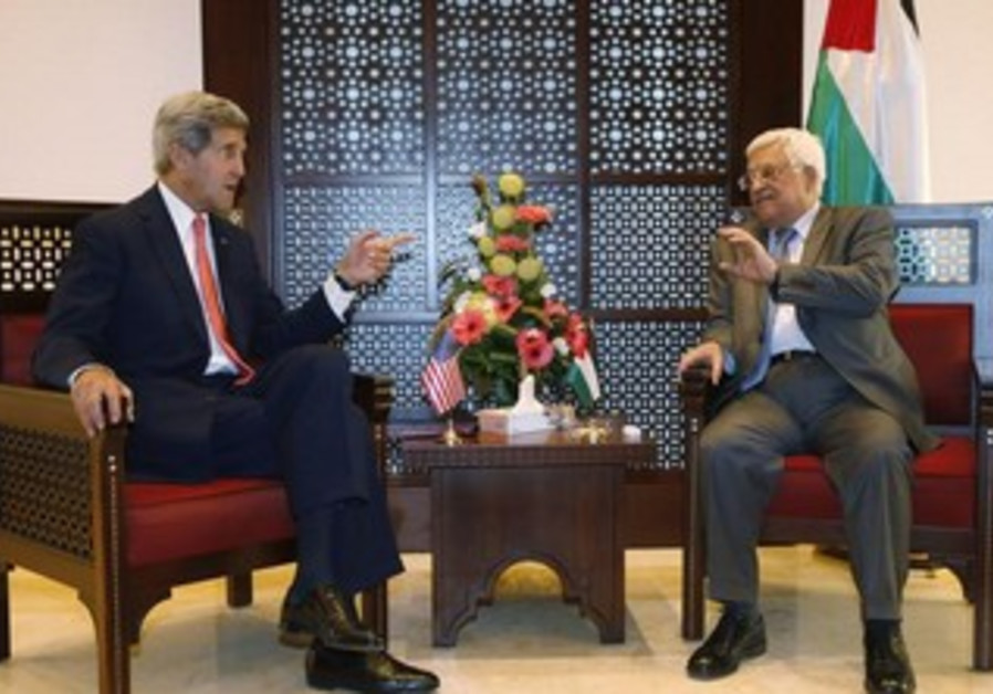US Secretary of State John Kerry (L) with PAn President Mahmoud Abbas in Bethlehem November 6, 2013