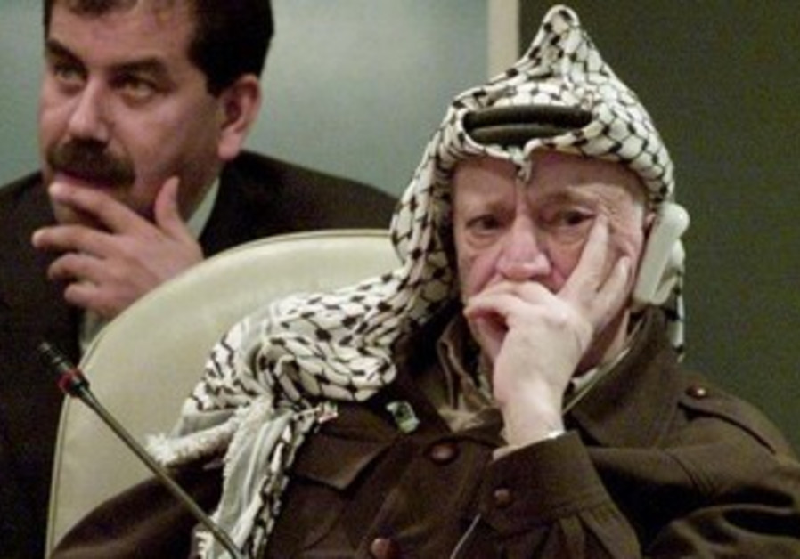 Yasser Arafat at the UN General Assembly, November 11, 2001.