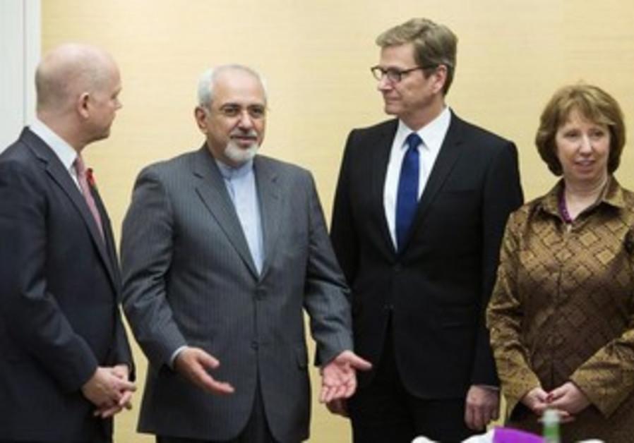 Negotiators from the UK, Iran, Germany and the EU at nuclear talks in Geneva November 9, 2013.