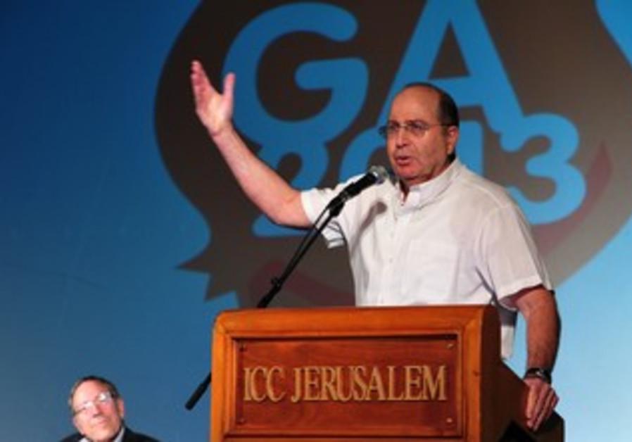 Defense Minister Ya'alon at General Assembly in Jerusalem, November 11, 2013