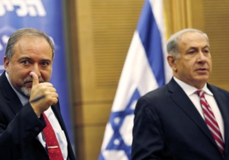 Foreign Minister Avigdor Liberman at Likud Beytenu faction meeting, Nov. 11, 2013