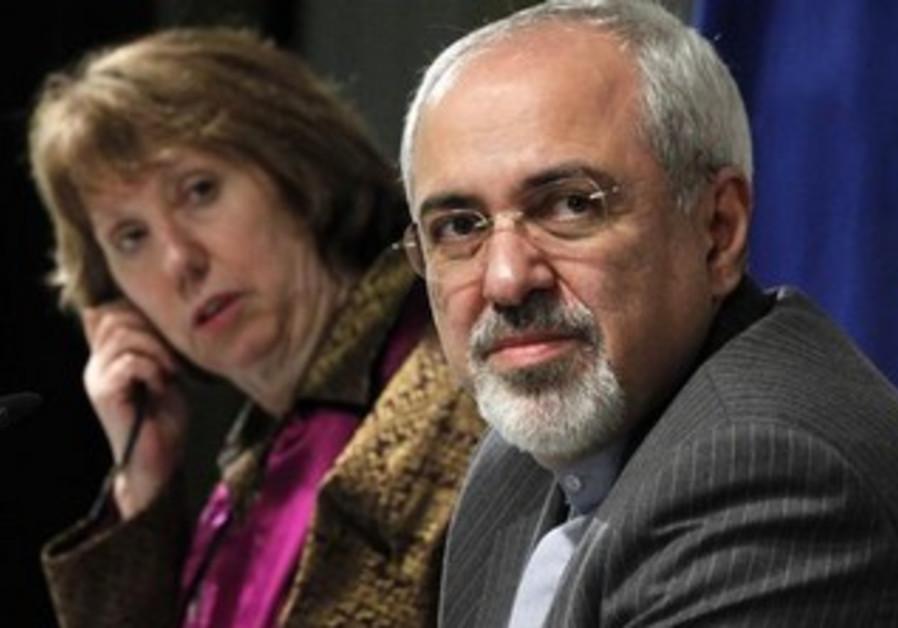 Iranian FM Mohammad Zarif and EU's Catherine Ashton