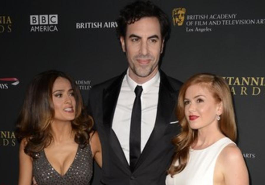 Salma Hayek, Sacha Baron Cohen and Isla Fisher at BAFTA awards