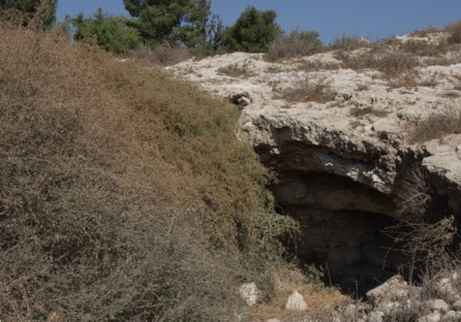 A cave that has not been restorted in the ruins of Abu Hof