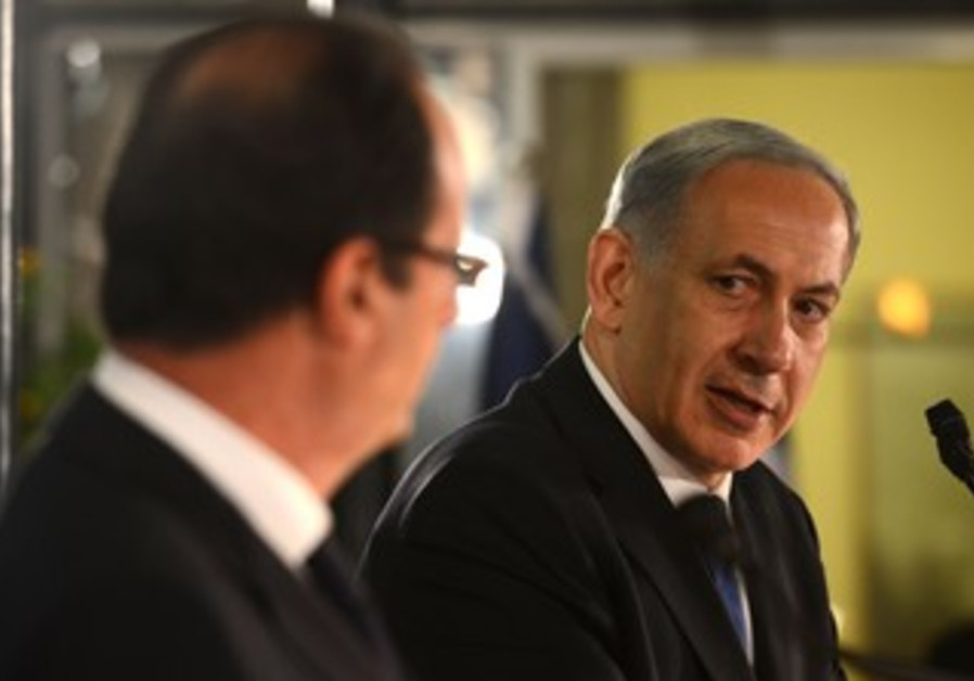 French President Hollande and Prime Minister Netanyahu at press conference in Jerusalem, November 17