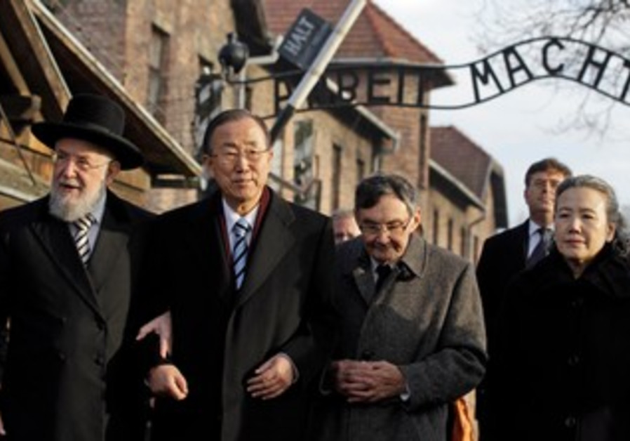 UN Secretary-General Ban Ki-moon at the Auschwitz-Birkenau memorial and former concentration camp.