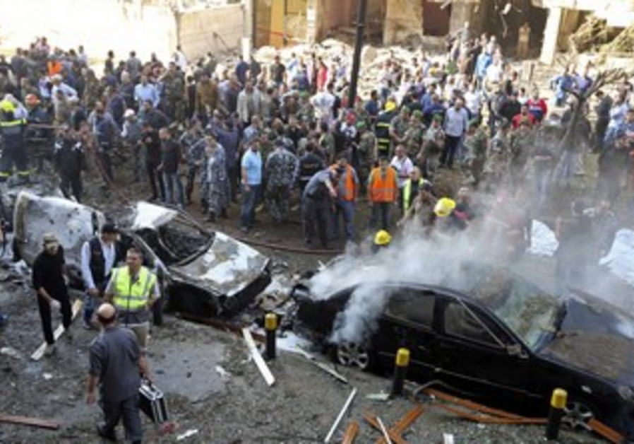 Site of explosions near Iranian embassy in Beirut, November 19, 2013