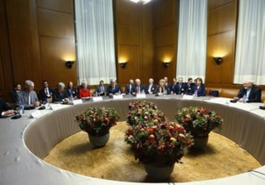 Negotiators ahead of the third round of Iran nuclear talks in Geneva, November 20, 2013.