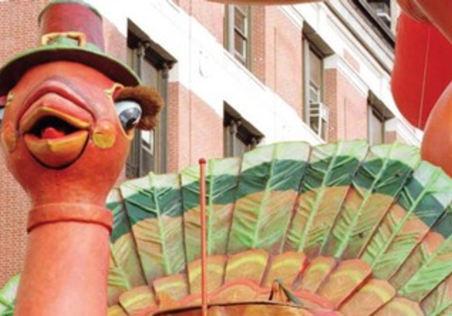 A turkey float at the Thanksgiving parade in New York