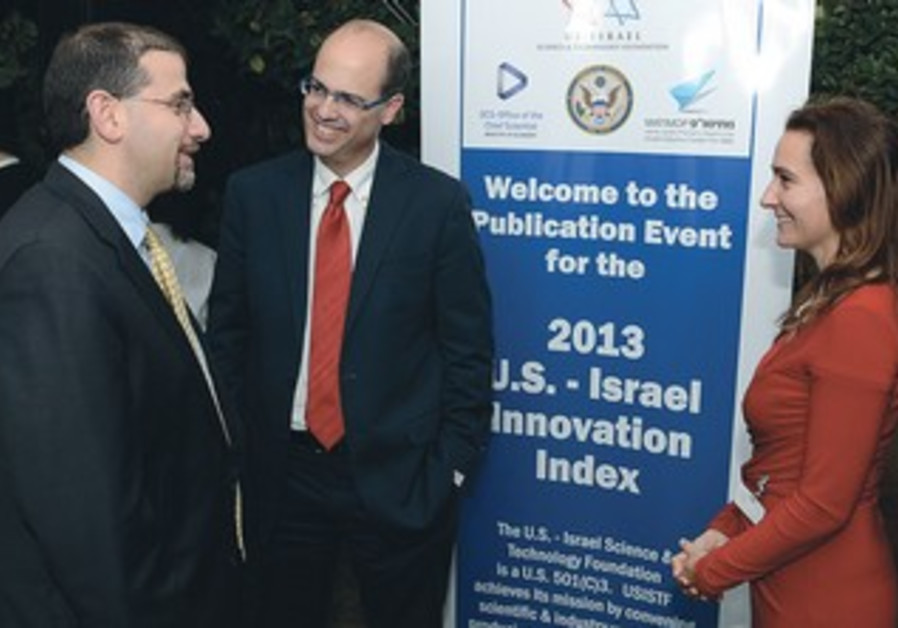US ambassador Daniel Shapiro with Avi Hasson, Ann Liebschutz at an event in Tel Aviv.