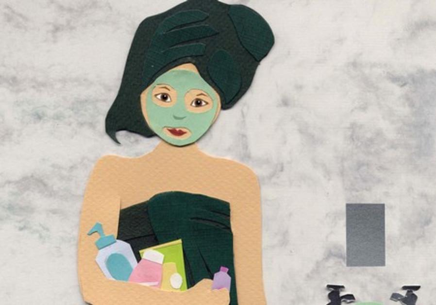 A cartoon of a woman ready to bathe