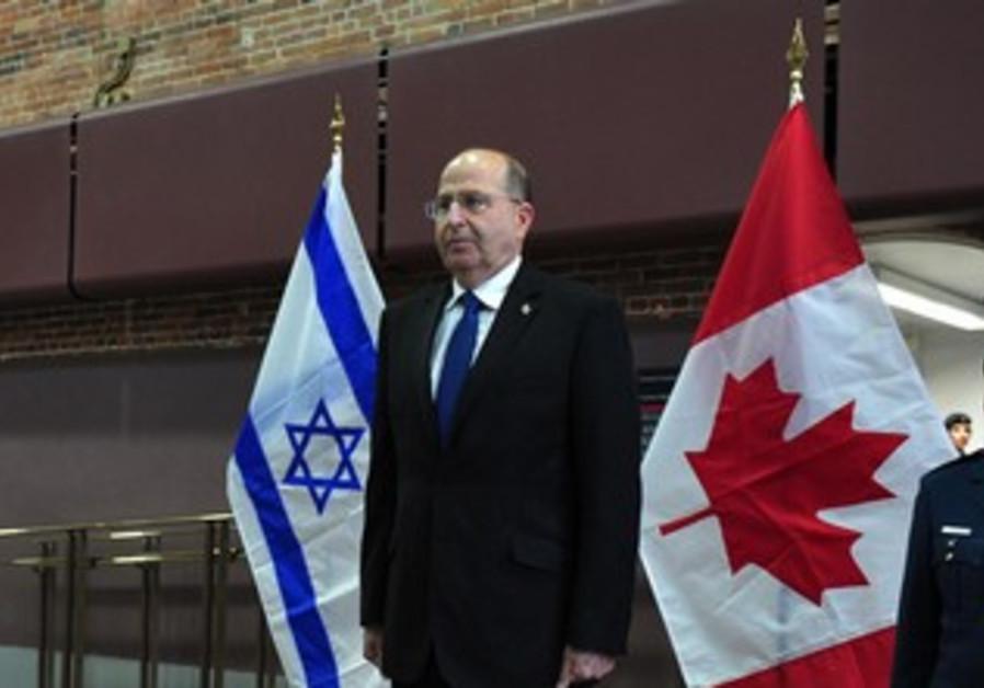 Defense Minister Moshe Ya'alon on state visit to Ottawa, Canada, November 21, 2013