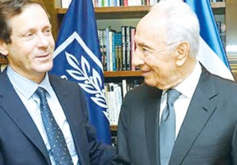Isaac Herzog and Shimon Peres, November 23, 2013