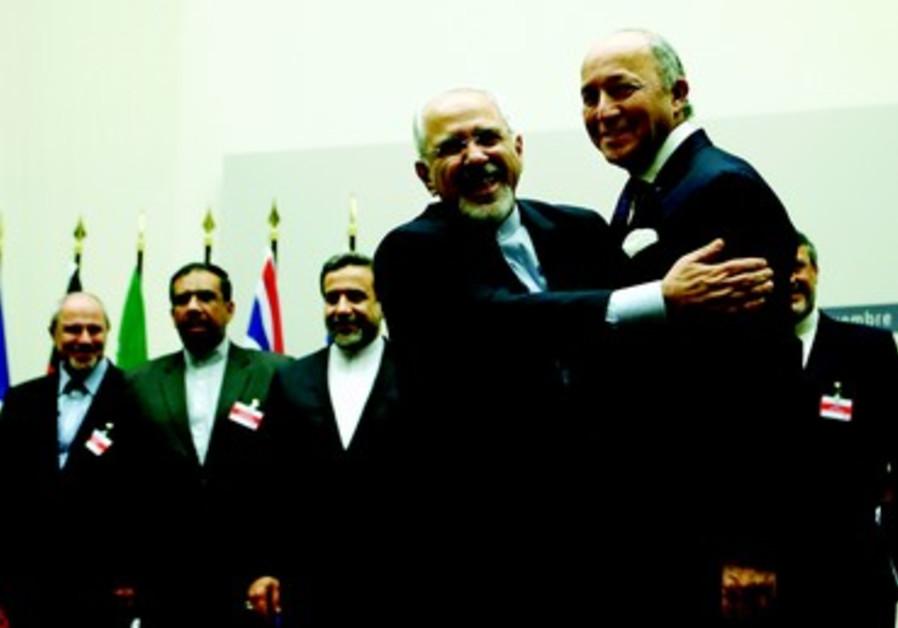 La joie du ministre iranien des Affaires étrangères, Mohammad Javad Zarif; à Genève le 24 novembre