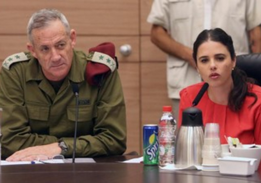Chief of Staff Gantz and MK Ayelet Shaked at Knesset's special committee on haredi national service.