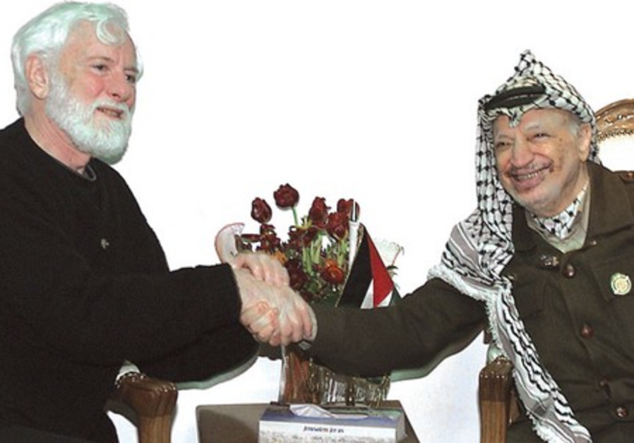 Firm friends: Uri Avnery with Palestinian Authority president Yasser Arafat in Ramallah, in 2002
