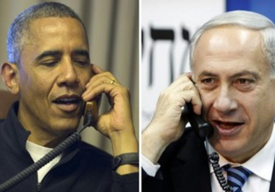 US President Obama and Prime Minister Netanyahu on the phone.