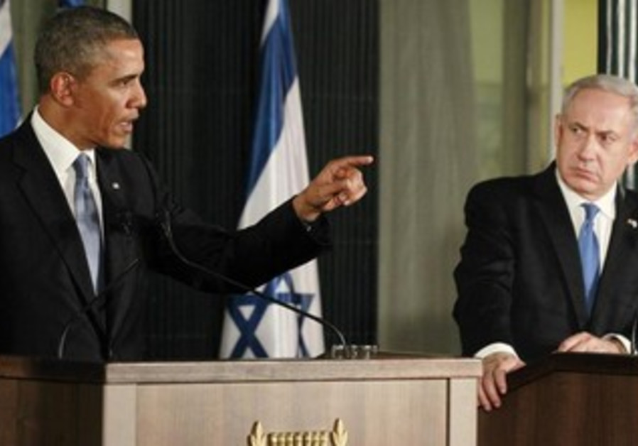 PM Netanyahu and US President Obama at a joint press conference in Jerusalem, March 20, 2013.