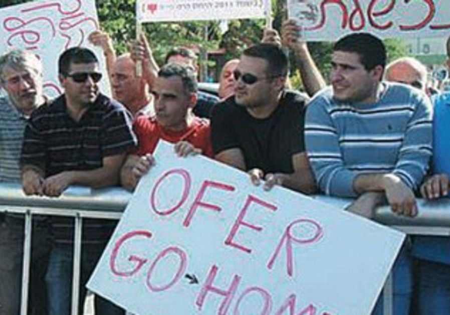 Workers protest at Hadera Paper last week.