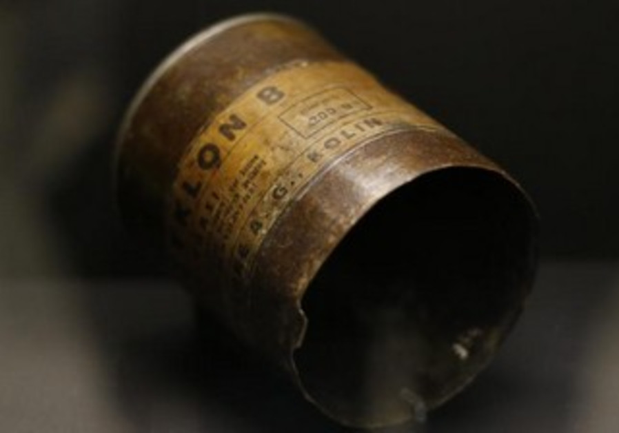 Can of Zyklon B at museum of former concentration camp Mauthausen near Linz in upper Austria
