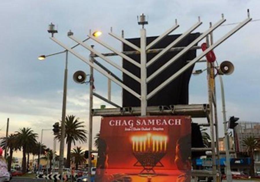 Lighting the Hanukkah candles in Melbourne, Australia