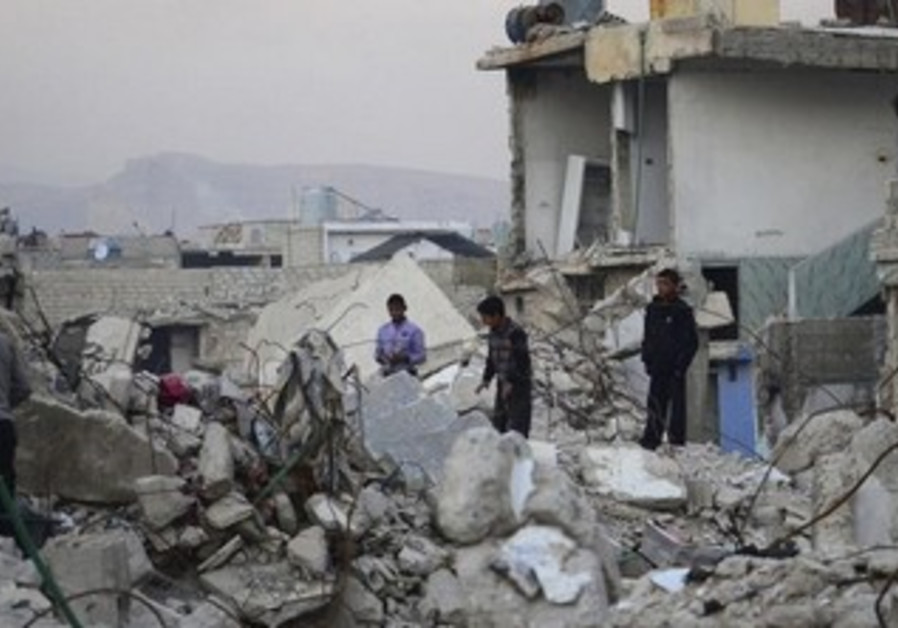 Syrian children survey damage in Damascus