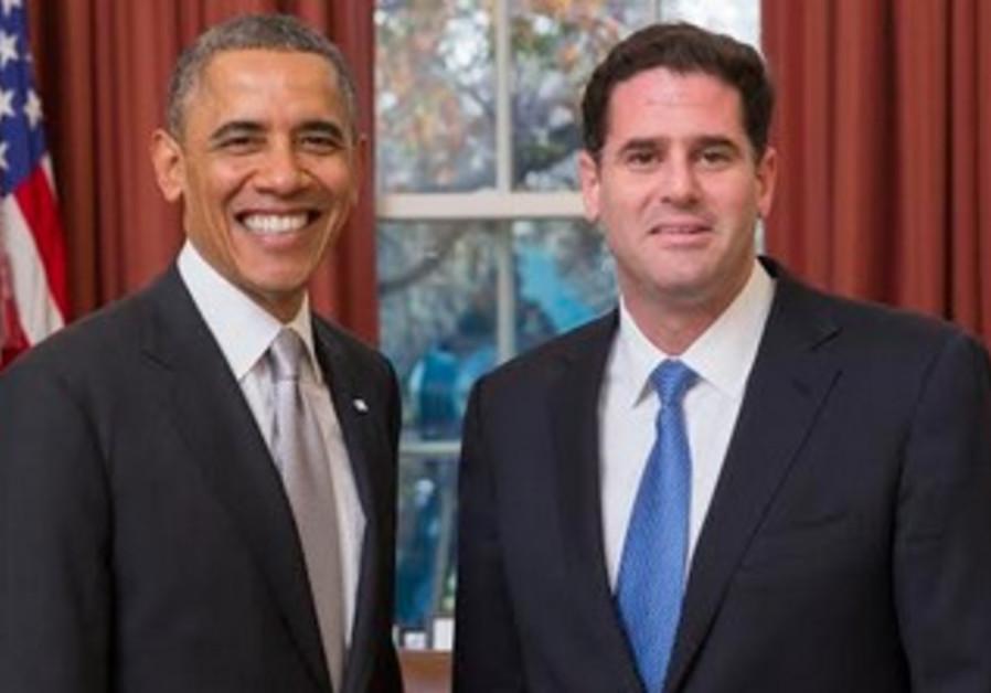 US President Barack Obama and Israeli Ambassador to the US Ron Dermer at the Oval Office, December 3