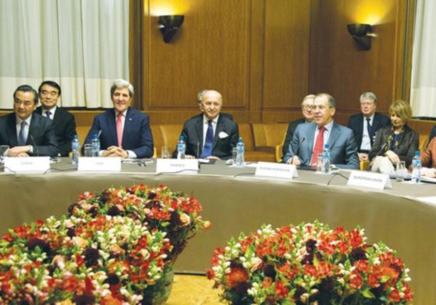 Iran nuclear talks at the Palais des Nations in Geneva, November 24, 2013.