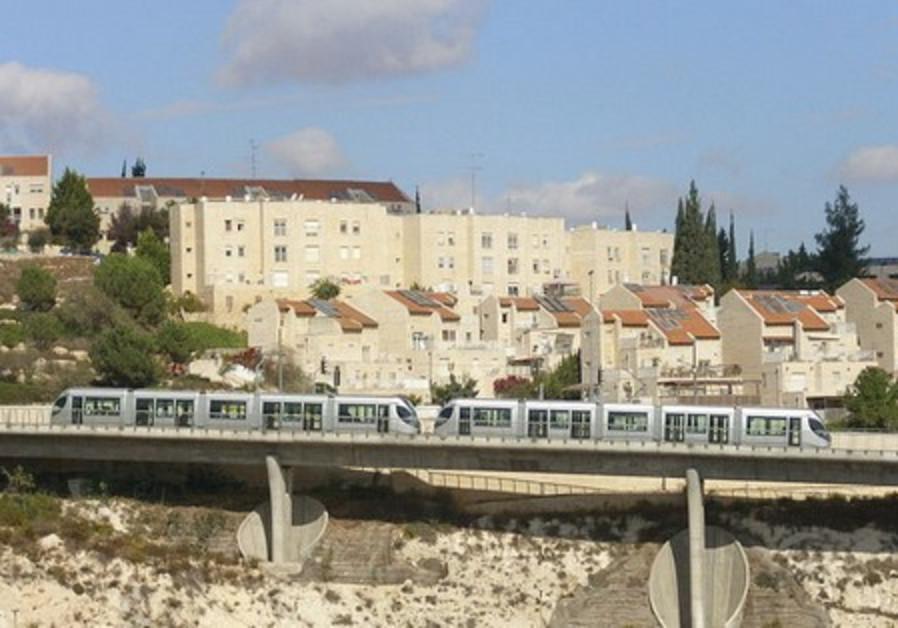 The light rail is seen running past Pisgat Ze'ev.