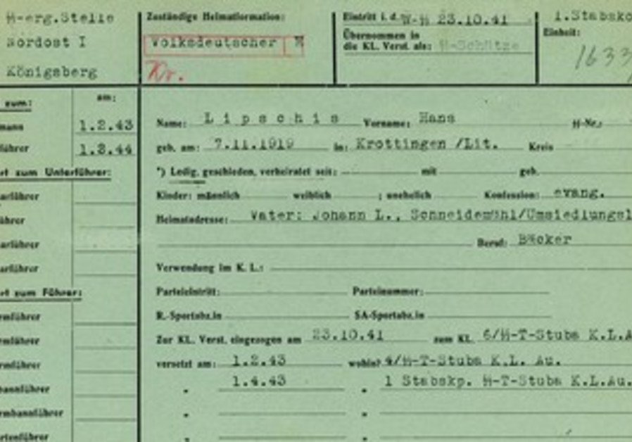 The 1941 military service record of SS soldier Hans Lipschis