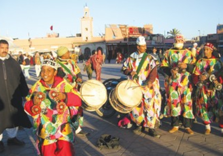 A group of entertainers in Djemaa-el-Fina Square in Marrakech.