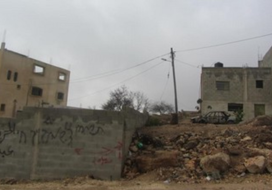 Alleged price tag attack in West Bank village of Jaloud, Dec 7, 2013