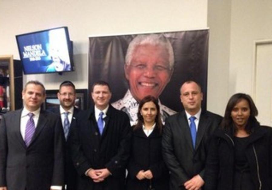 Israeli delegation at memorial for Mandela in South Africa, Dec 10 2013