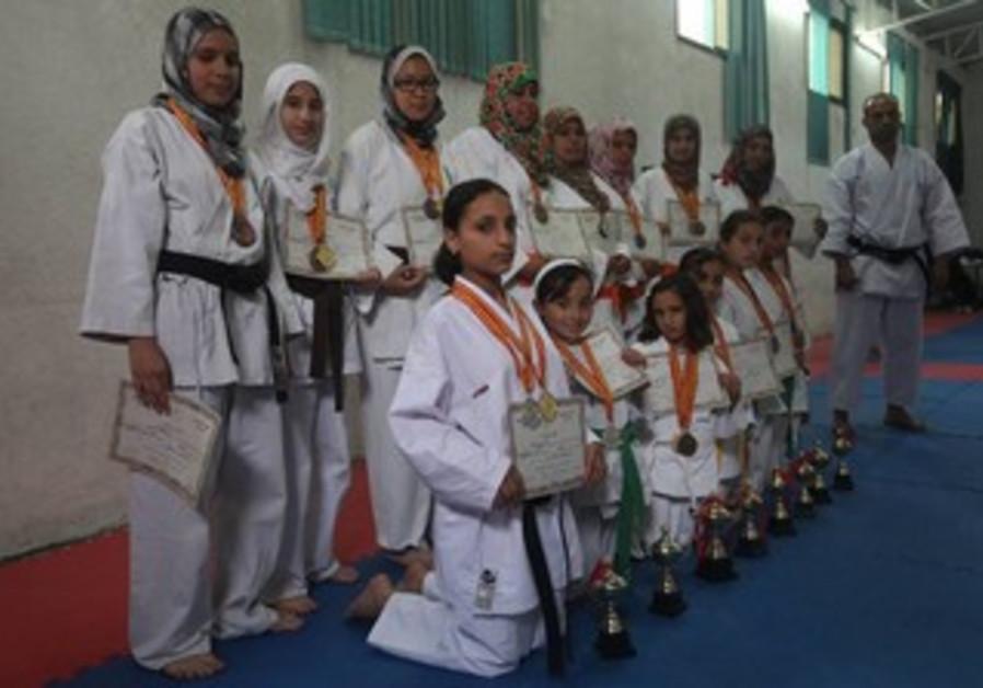 Women's karate class in the Gaza Strip